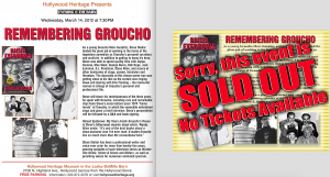 "Flyer and ""Sold Out"" sign promoting my 2012 appearance at the Hollywood Heritage Museum."